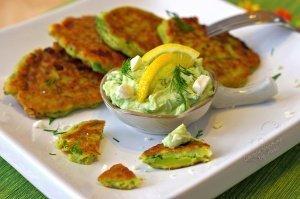Avocado-Zucchini-Feta Fritters