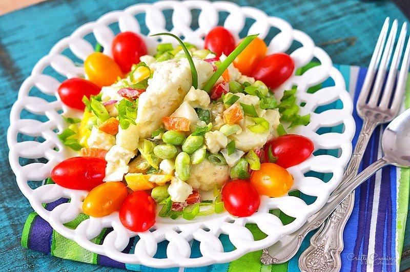 Cauliflower-Edamame-Salad-served