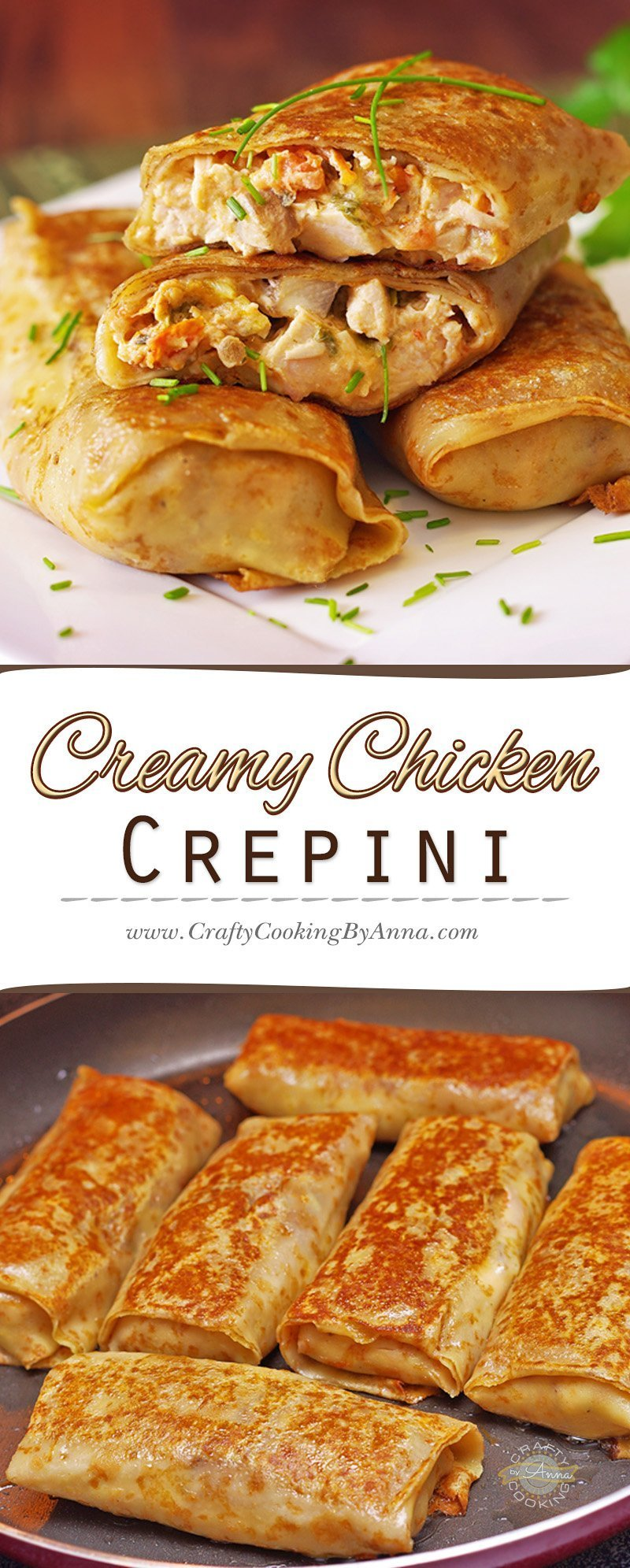 These stuffed crepini or Nalistniki , as we call them in Russian, are kid and adult friendly! Make Great Breakfast, Lunch or anytime Snack. #Crepini #Chicken #Crepes