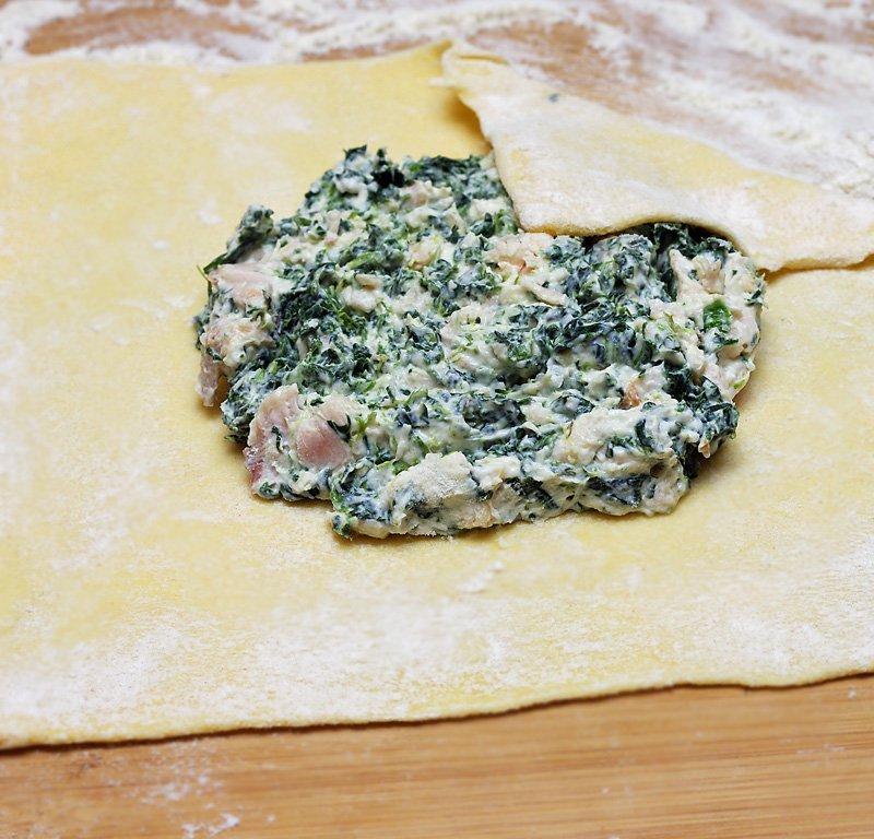 Chicken and Spinach Puffs prep