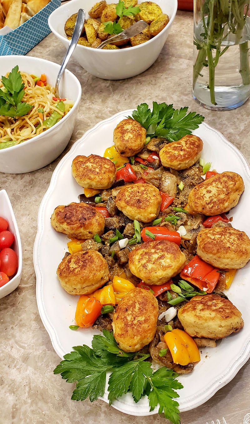 Chicken patties (Kotletki) with Sauteed Vegetables