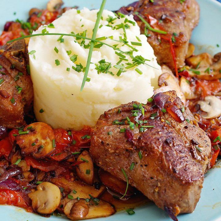 Australian Lamb Loin chops and Mashed potatoes recipe