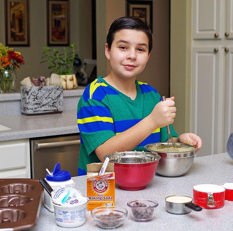 Joshua makes Pecan Chocolate Banana Cakes