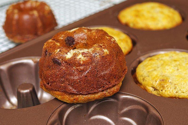Pecan Chocolate Banana Cakes closeup