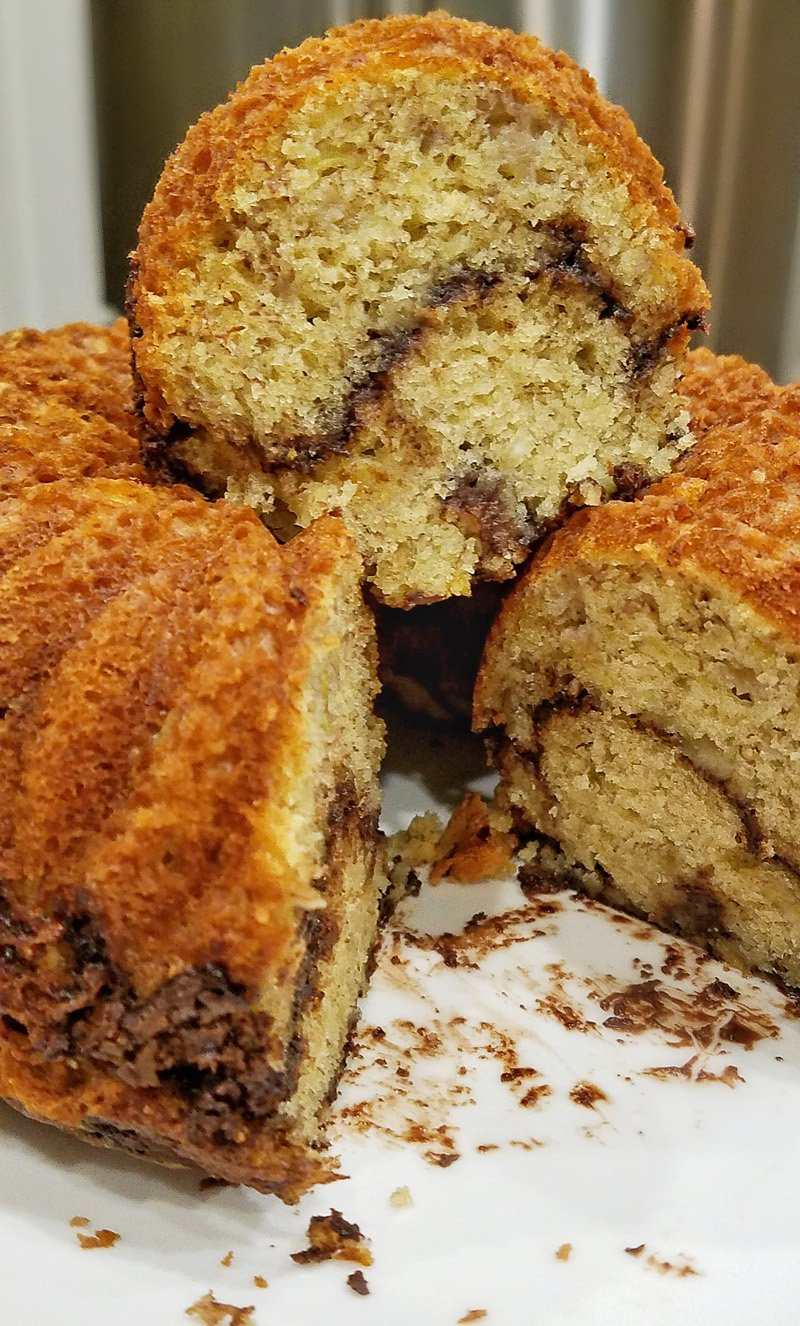 Banana Cake with Chocolate and Nut layer inside