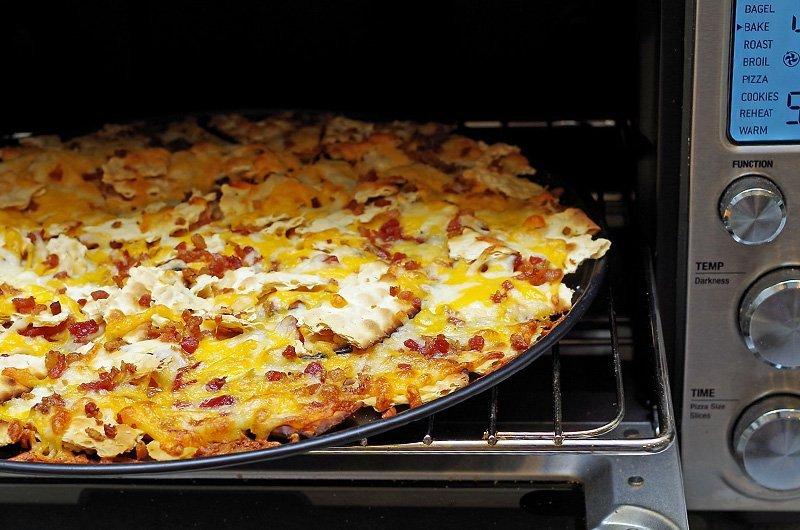Matzah Nachos baked in the toaster oven
