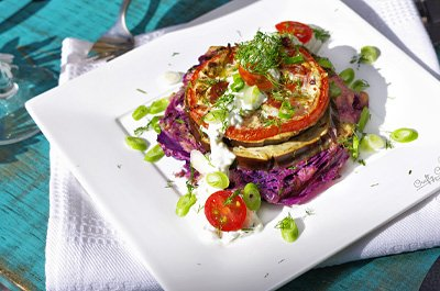 Roasted Cabbage, Eggplant and Tomato Stacks