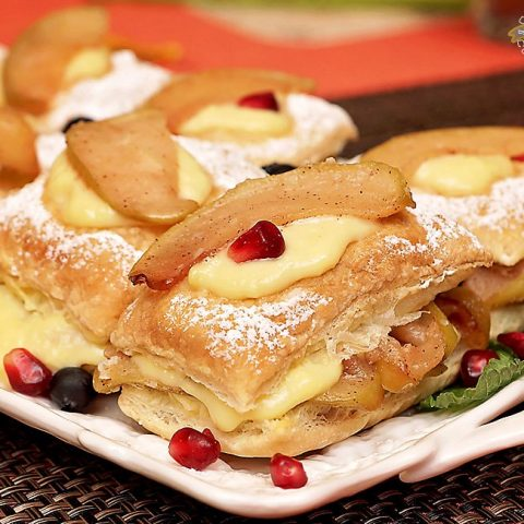 Apple Custard Pastry with homemade custard cream and caramelized apples