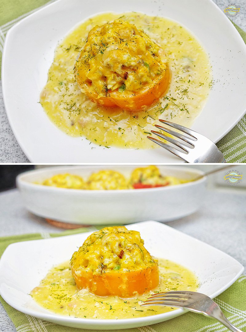 Creamy Stuffed Pepper Rings served
