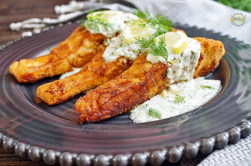 Pan Seared Salmon with Creamy Dill Sauce served