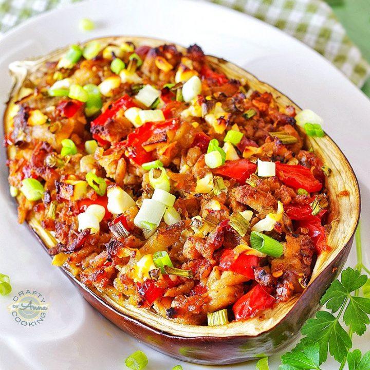Mediterranean Chicken Stuffed Eggplant Pin