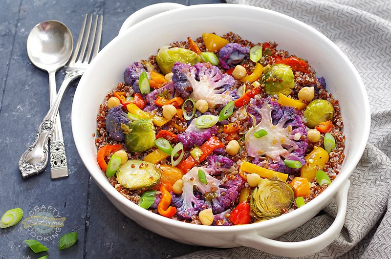 Roasted Purple Cauliflower, Brussel Sprouts and Quinoa salad