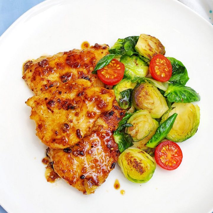 Sticky Garlic/Teriyaki/Honey Chicken Breast with Seared Garlicky Brussels Sprouts