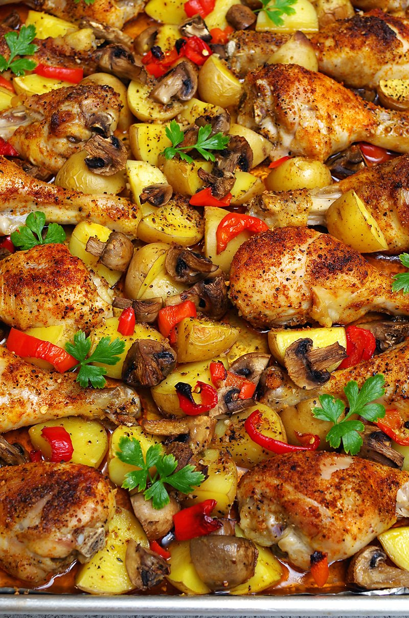 one pan baked chicken drumsticks with potatoes and veggies. Black Bedroom Furniture Sets. Home Design Ideas