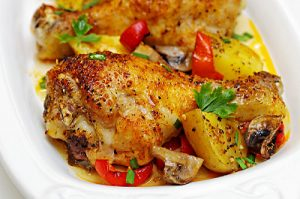 ONE PAN BAKED CHICKEN WITH POTATOES AND VEGGIES