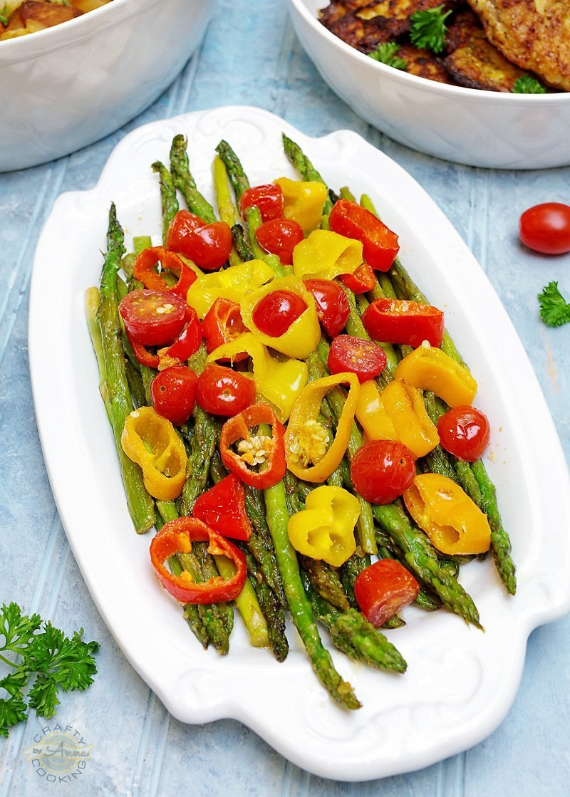 Asparagus, peppers, tomatoes