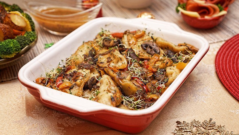 Potstickers with mushrooms/onions/peppers