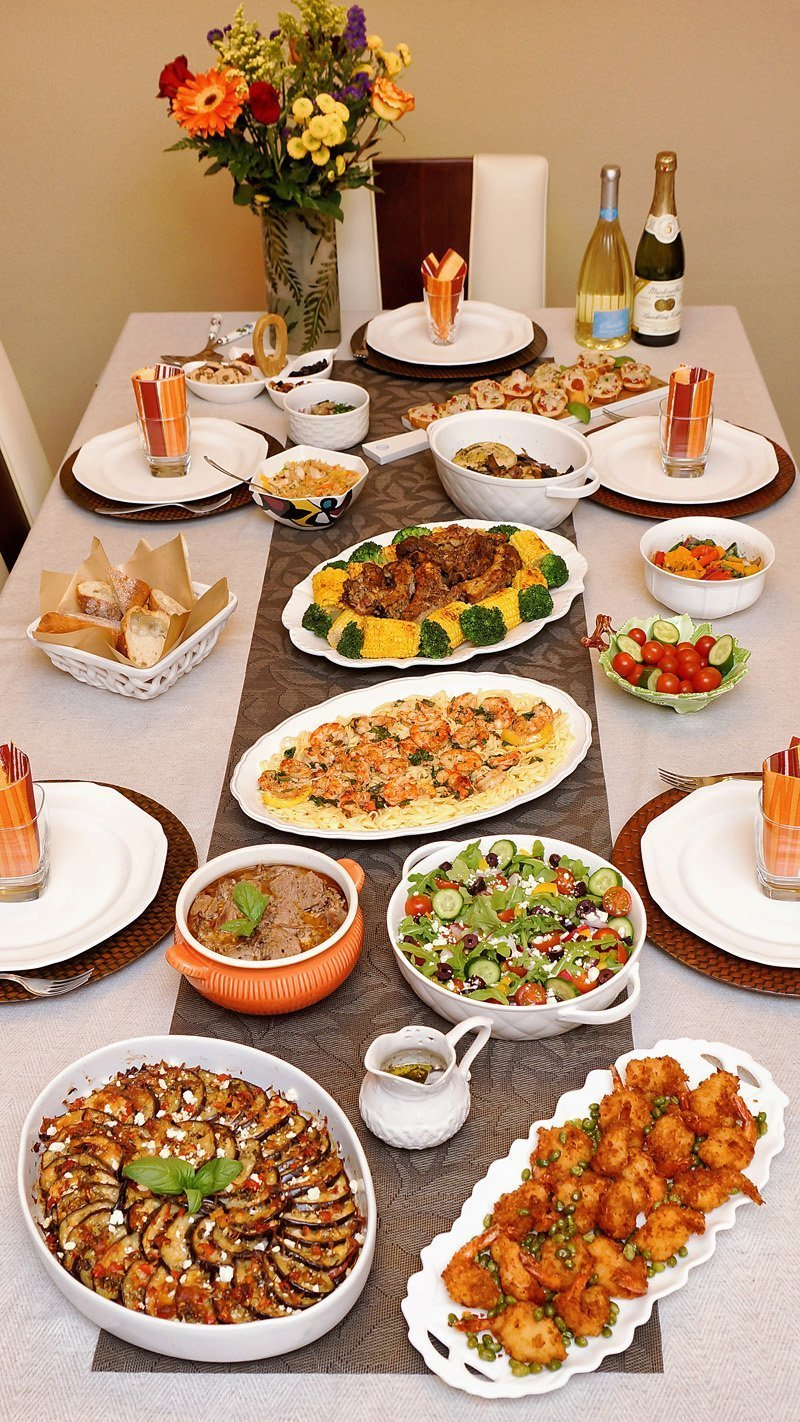 In-laws 56th Anniversary Food Table by Crafty Cooking by Anna! I hope you will find these recipes and presentations useful to create special dinners for your family! RECIPE: https://www.craftycookingbyanna.com/inlaws-56th-anniversary-dinner/ #AnniversaryDinner #EggplantGratin #Ribs #Shrimp #Pasta #Lamb #Salad #CrepeCake #Celebration #Family #GoodFood #Together #Recipes #EasyRecipes #Meals #Cooking #Entertaining #CraftyCookingByAnna