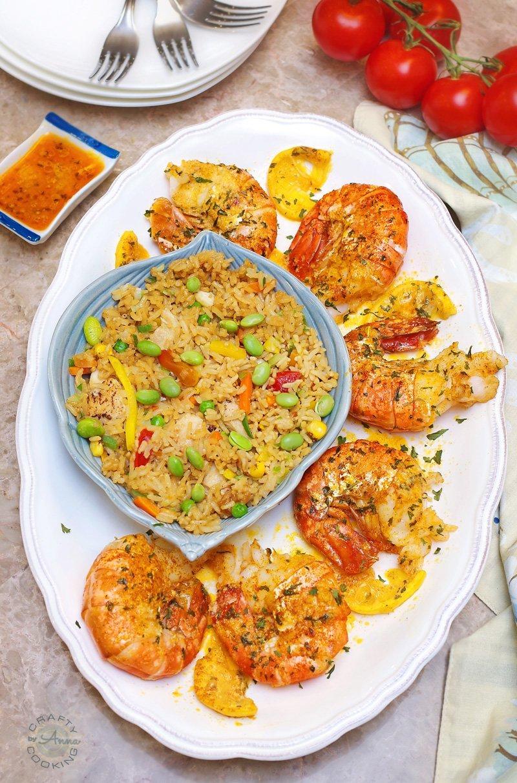 Baked Parmesan Garlic Colossal Shrimp Served