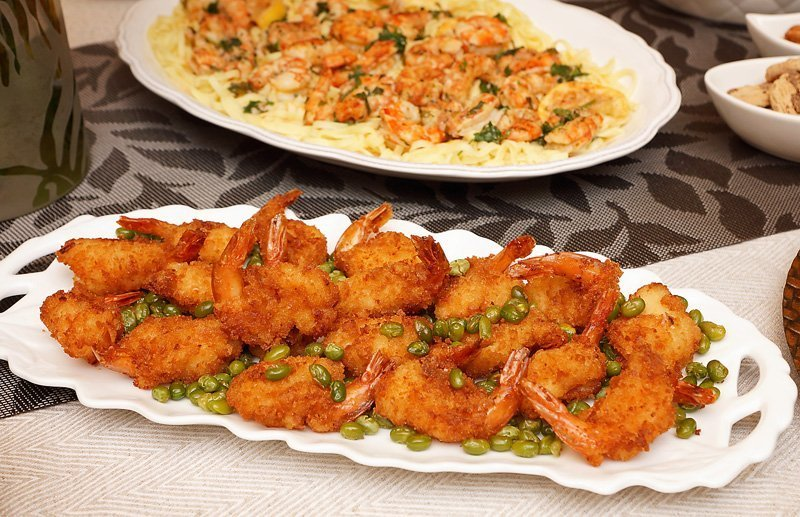 Panko Shrimp and Edamame