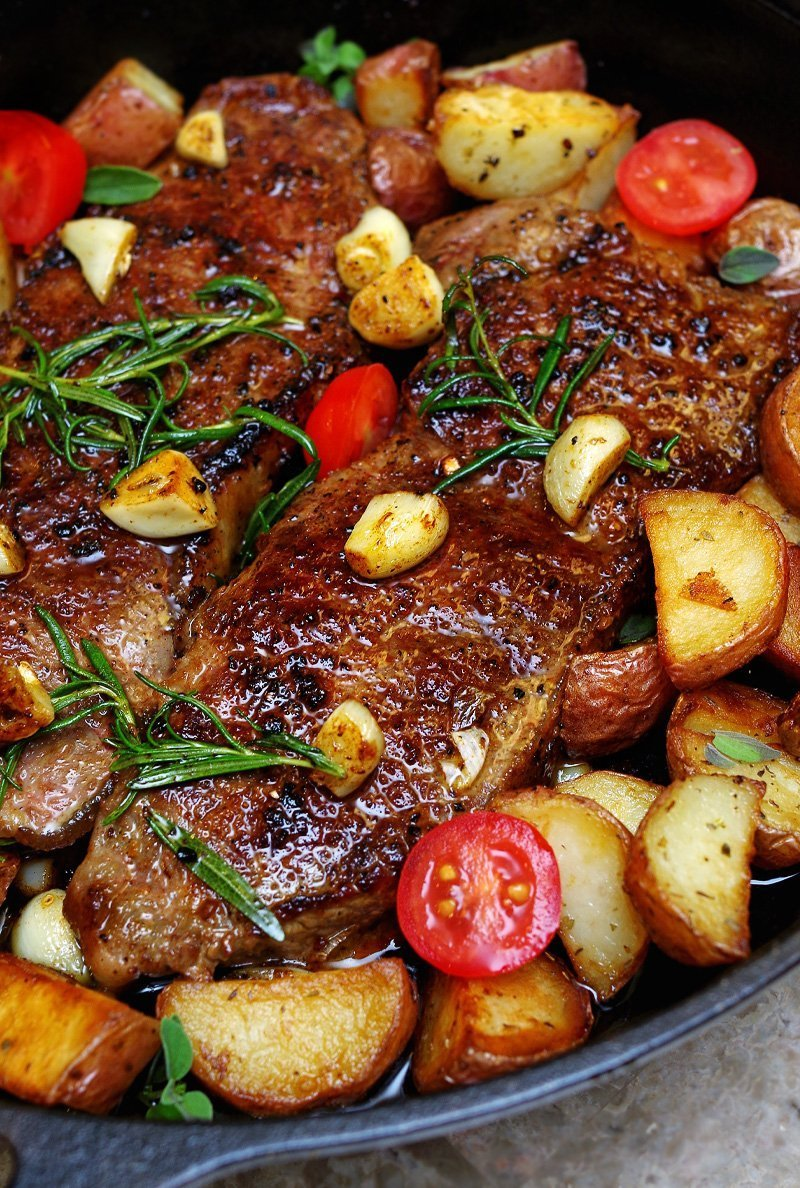 Pan Seared New York Strip Steak with Garlic, Rosemary, Butter, and Homefries