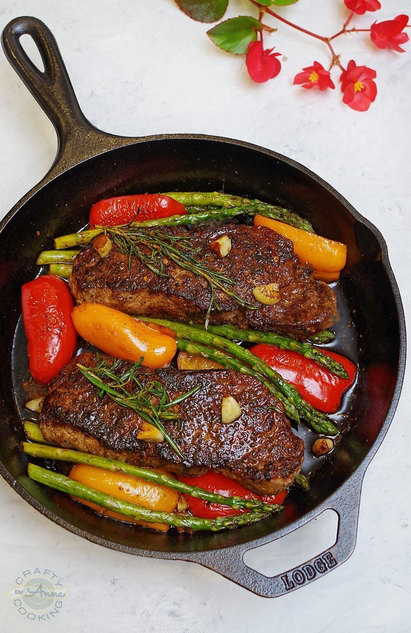 "One Pan Seared NY Strip Steak with Garlic, Rosemary, Butter and Veggies! This will be the best steak recipe you will make. I promise! My crew said: "" This is the best dinner ever! Never ordering the steak anywhere else!"""