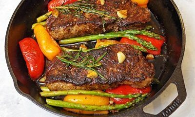 One Pan Seared NY Strip Steak with Garlic, Rosemary, Butter and Veggies!