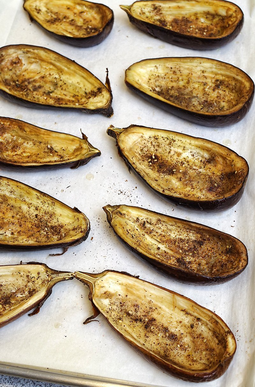 Mediterranean Couscous Stuffed Eggplant with Tahini sauce