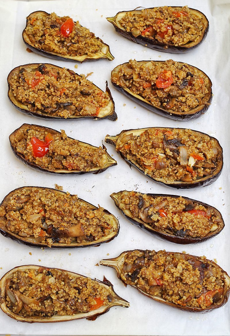Mediterranean Couscous Stuffed Eggplant with Tahini sauce