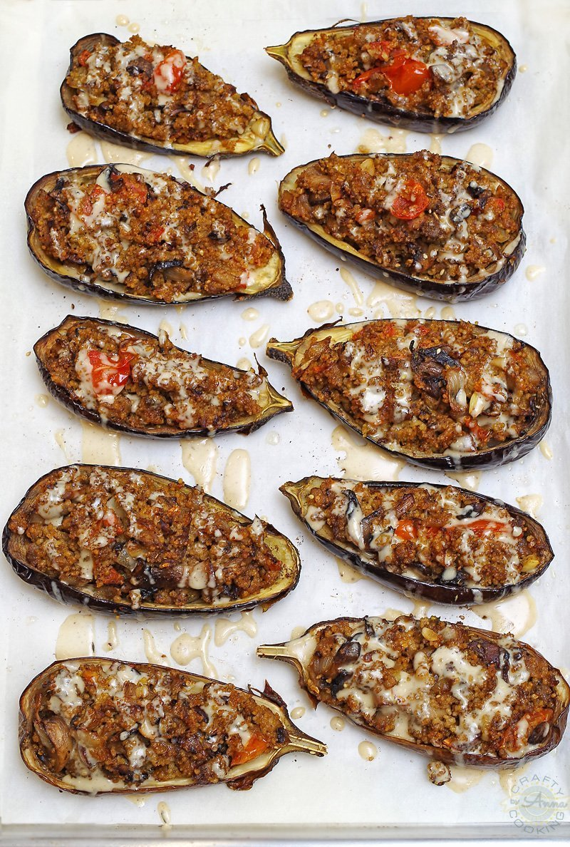 Get ready to fall in love with this Mediterranean Couscous Stuffed Eggplant with Tahini sauce recipe! It's full of flavor, easy to prepare and looks impressive served on the plate!