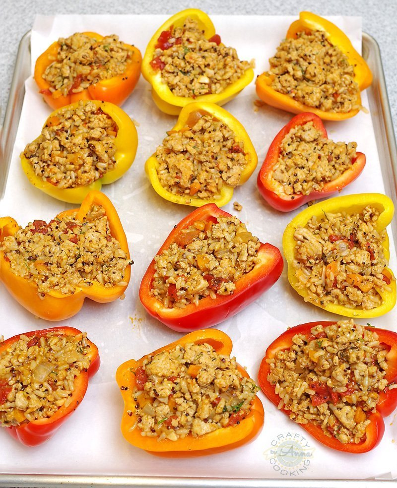 Chicken Stuffed Peppers prep