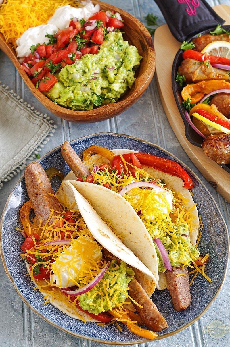 Sausage/Brats Fajitas plated