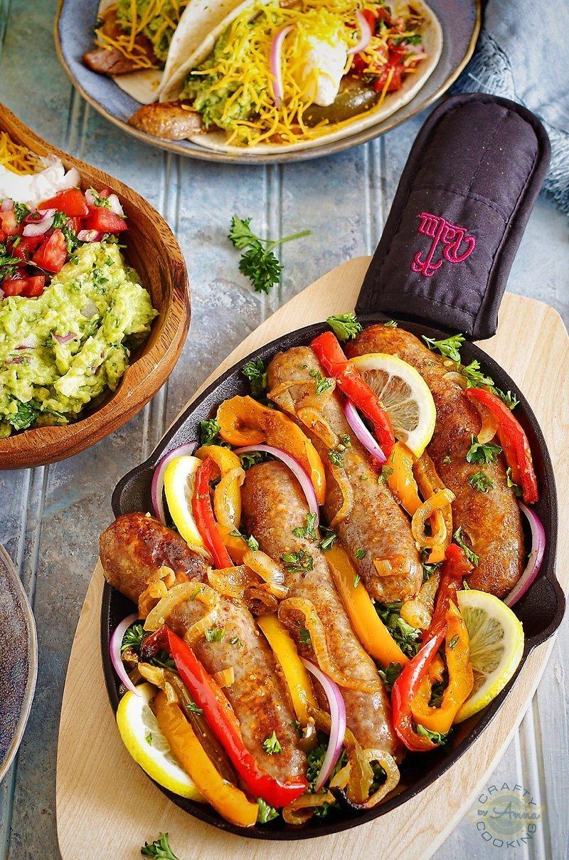 Sausage/Brats Fajitas served