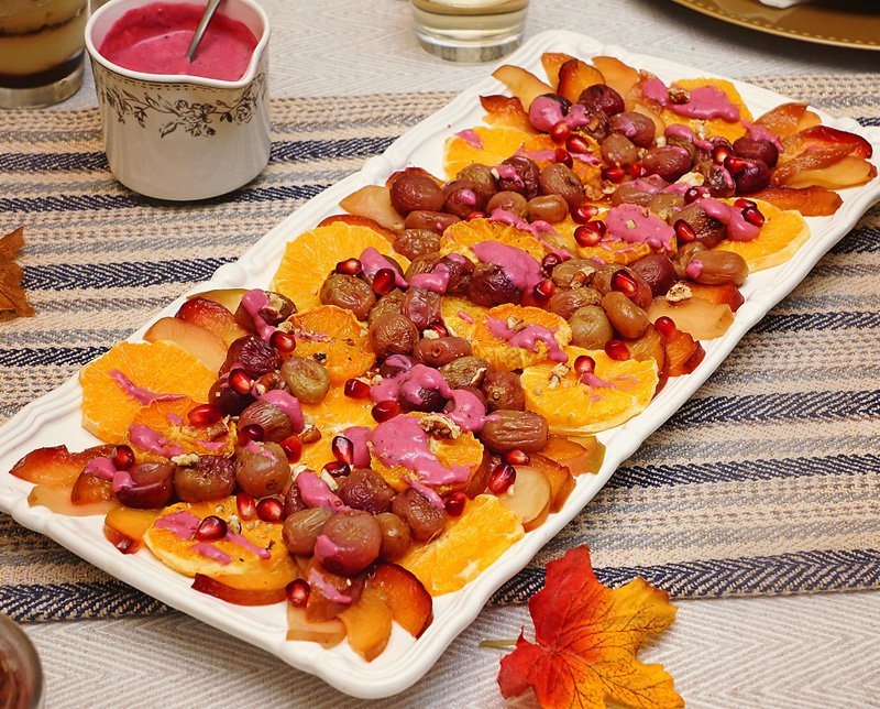 Roasted Fruit salad with Cranberry/Yogurt sauce