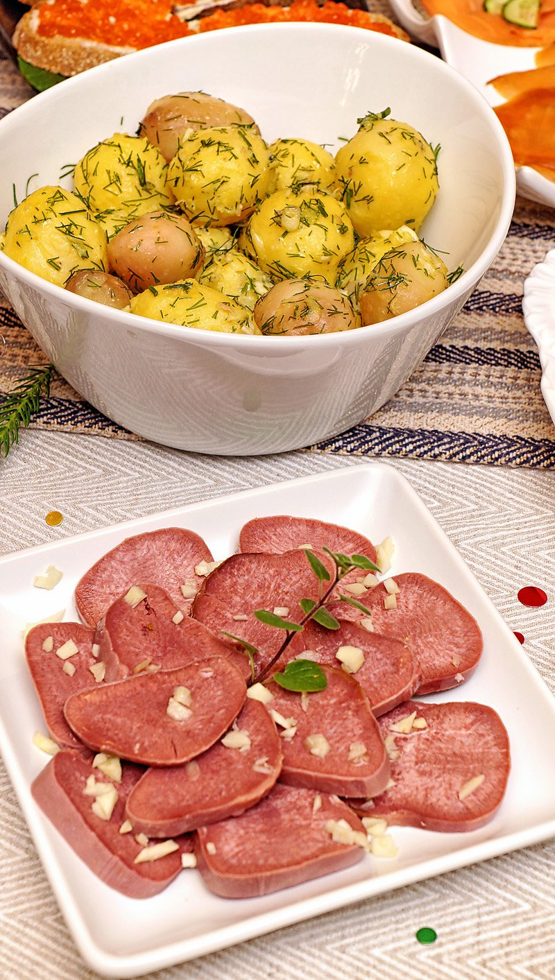 Smoked Veal Tongue with garlic, boiled potatoes with butter, garlic and dill