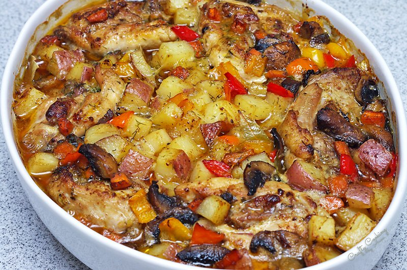 Russian Chicken Stew (Zharkoe) baked