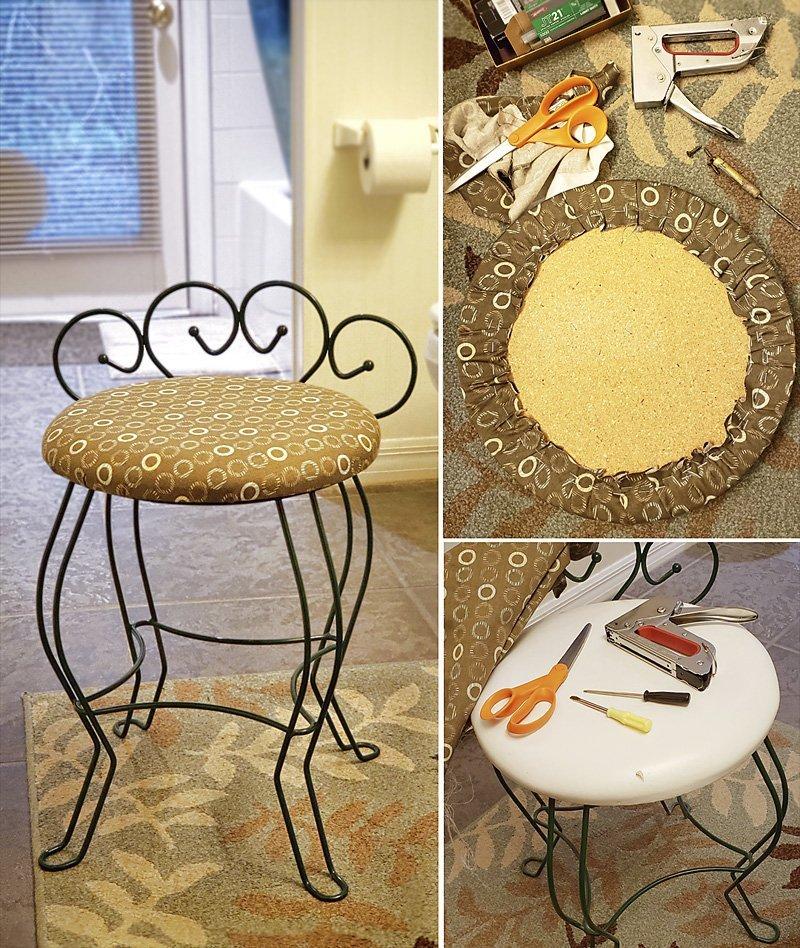 Bathroom chair reupholstered