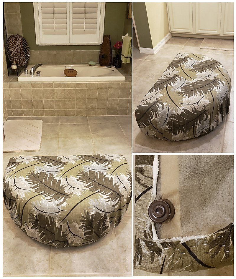 Bathroom ottoman reupholstered