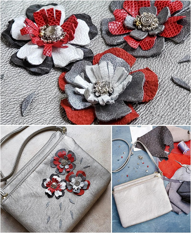 Purse leather flowers project