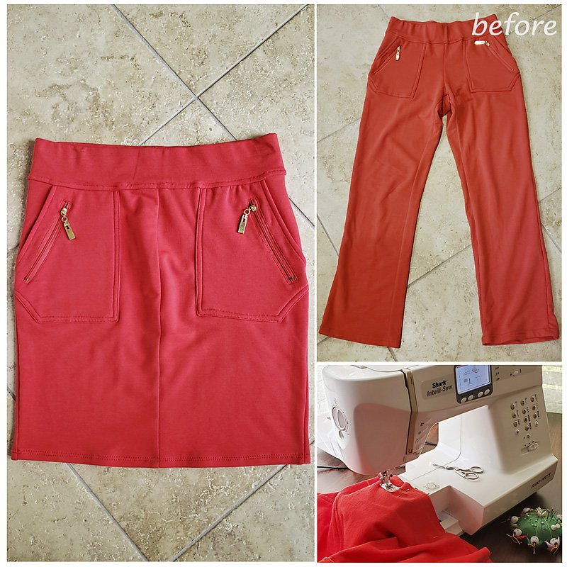 Red skirt from pants