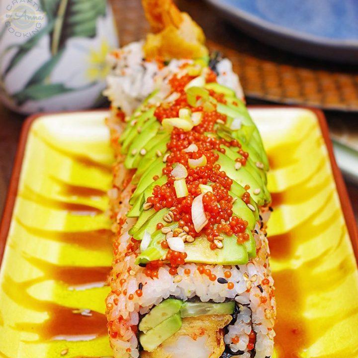 Shrimp Tempura Roll with Avocado and Lumpfish Caviar closer