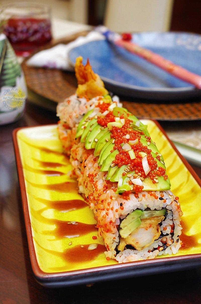 Shrimp Tempura Roll with Avocado and Lumpfish Caviar click for the recipe