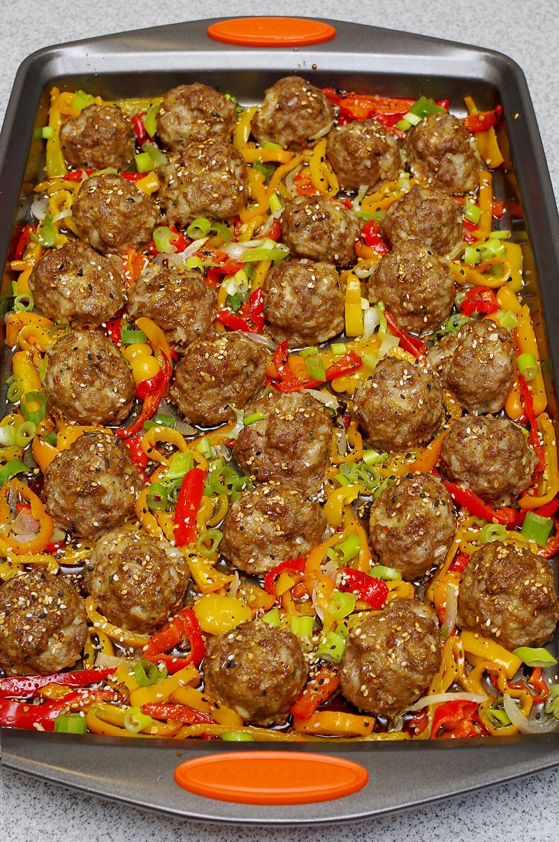 Asian meatballs baked with veggies