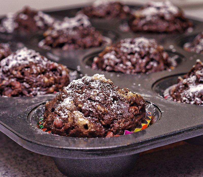 Chocolate Banana Muffins baked