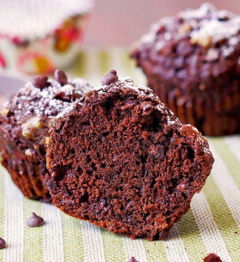 Chocolate Banana Muffins inside