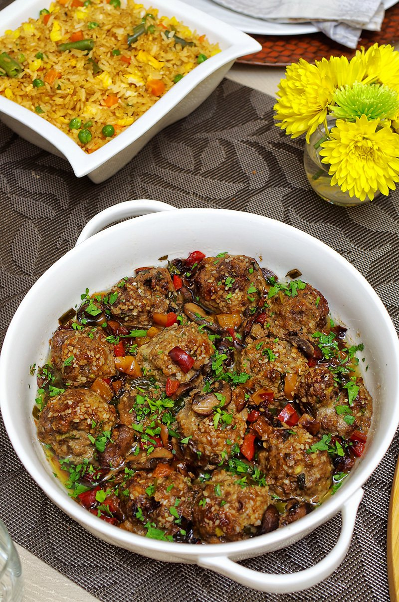 Baked Moist Asian Meatballs and veggies