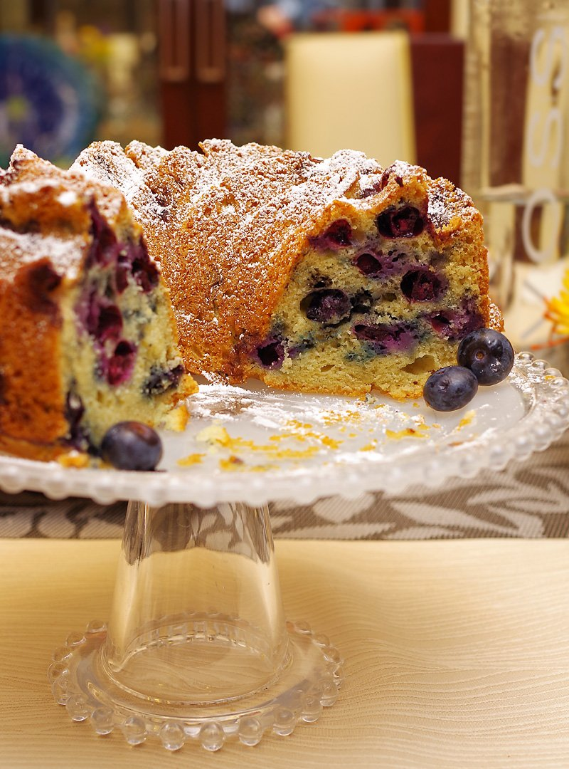 Blueberry Sour Cream Bundt Cake inside