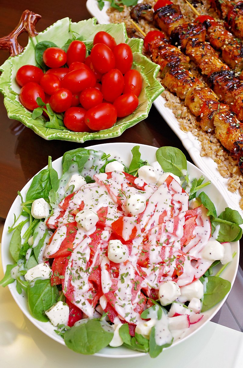 Chicken Kabobs and salad