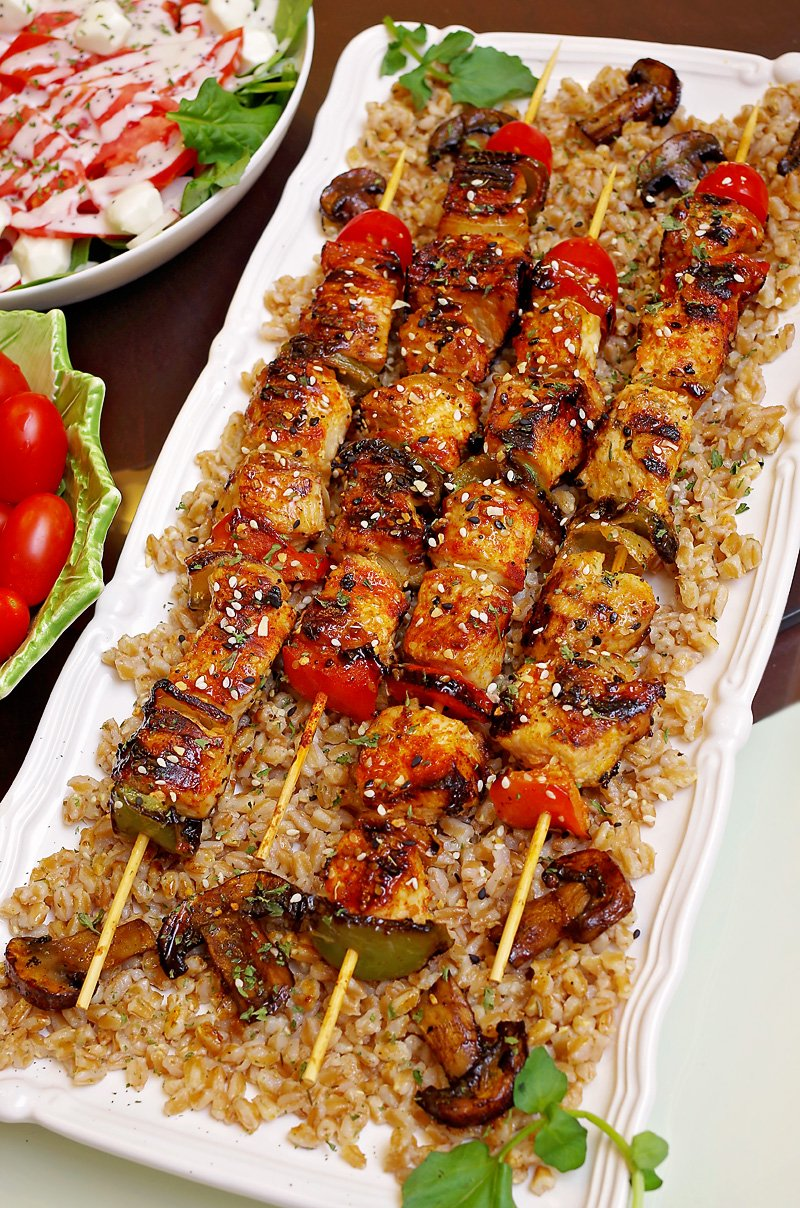 Chicken Kabobs on Cuisinart Griddler served