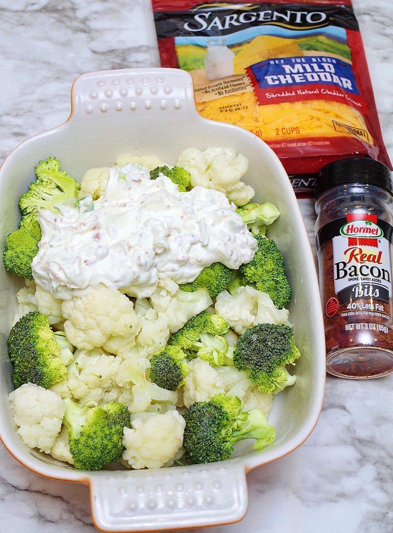 Cheesy Cauliflower Broccoli Bake prep